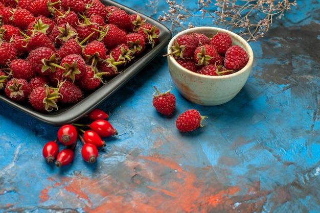 Widok z przodu świeże czerwone maliny wewnątrz czarnej tacy na niebieskim tle roślina drzewo kolor jagoda dzikie dojrzałe owoce