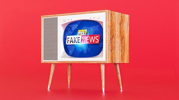 Widok z przodu telewizora z fałszywymi wiadomościami