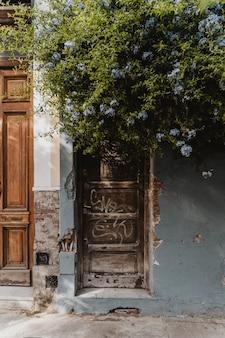 Widok z przodu wejścia do domu w mieście z drzewem