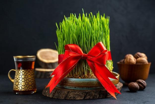 Widok Z Przodu Zielone Semeni Z Czerwoną Kokardką Na Ciemnej Powierzchni Darmowe Zdjęcia