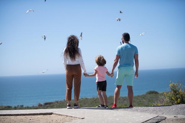 Widok z tyłu beztroskiej rodziny na wakacjach na plaży