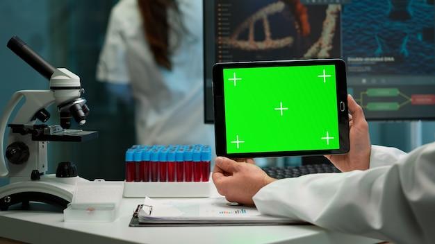 Widok z tyłu chemik człowieka trzymając tablet z zielonym makieta w nowocześnie wyposażonym laboratorium. zespół mikrobiologów prowadzących badania nad szczepionkami piszący na urządzeniu z kluczem chrominancji, izolowany wyświetlacz.
