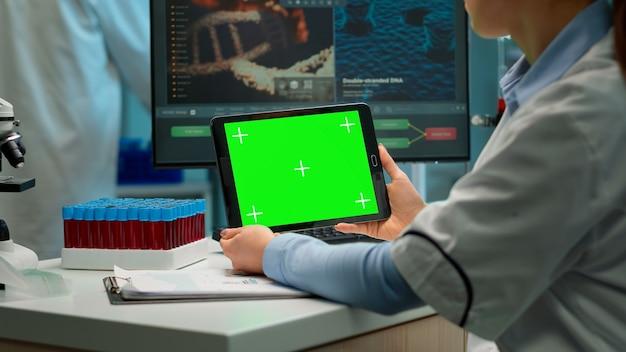 Widok z tyłu chemik kobiety trzymającej tablet z zielonym makieta w nowocześnie wyposażonym laboratorium. zespół mikrobiologów prowadzących badania nad szczepionkami piszący na urządzeniu z kluczem chrominancji, izolowany wyświetlacz.