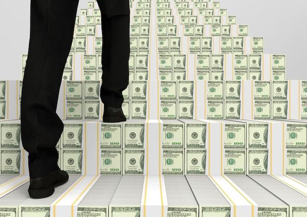Widok z tyłu człowieka biznesu, który wspinanie się na nas 100 dolarów stosu schody do sukcesu