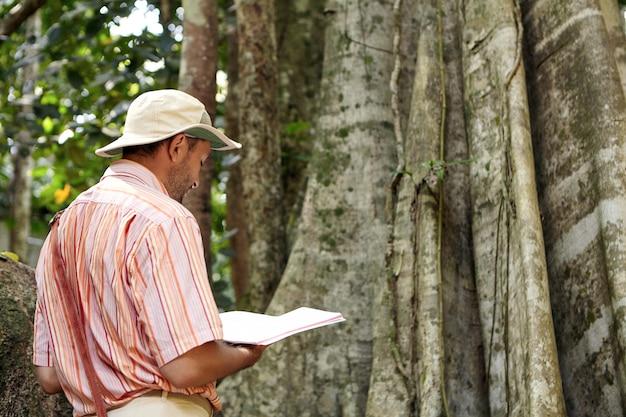 Widok z tyłu męskiego biologa lub botanika w kapeluszu i koszuli stojącego przed gigantycznym drzewem z notatnikiem w rękach, prowadzącego badania, testującego warunki środowiskowe w tropikalnym lesie