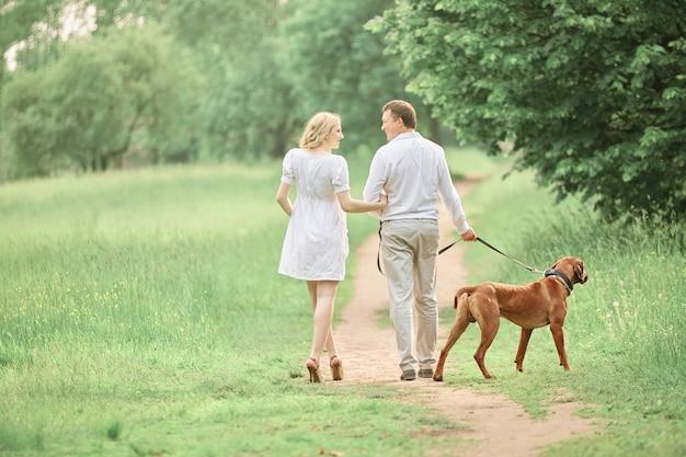 Widok z tyłu para na spacerze w parku