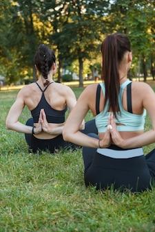 Widok z tyłu pionowe ujęcie dwóch kobiet uprawiających jogę na świeżym powietrzu, siedzących w pozycji lotosu na trawie