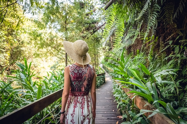 Widok z tyłu podróżujących azjatki chodzić na pasie w lesie