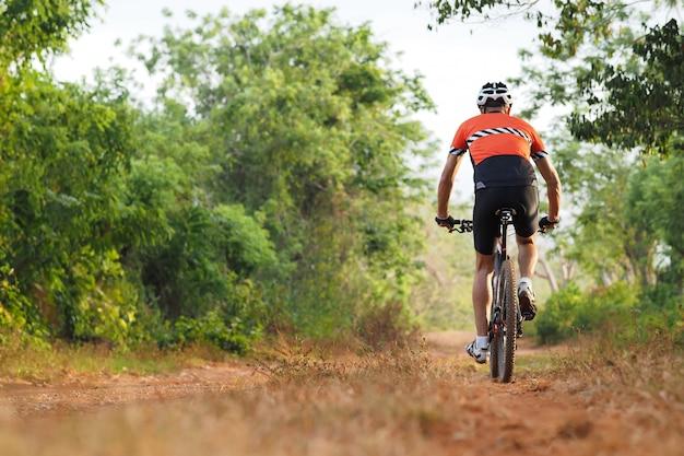Widok z tyłu rowerzysty samotnie na rowerze górskim w lesie wsi