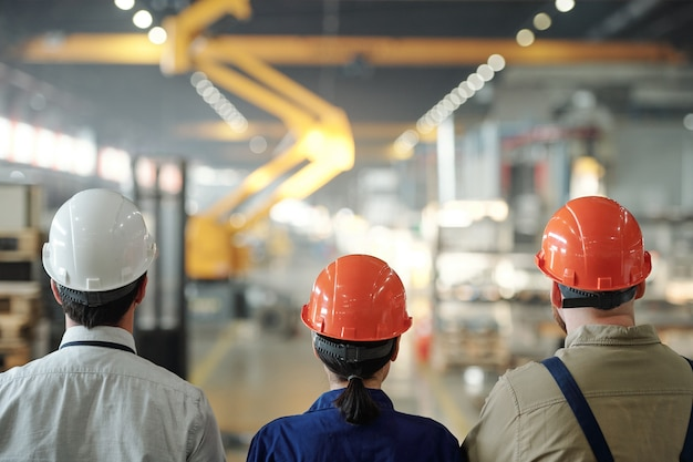 Widok z tyłu zespołu współczesnych inżynierów w kaskach poruszających się wzdłuż dużego zakładu przemysłowego