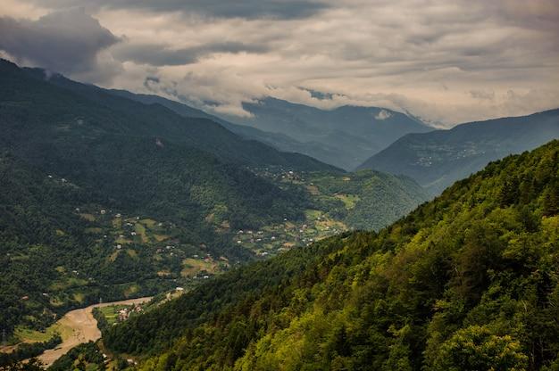 Widok ze wzgórz pokrytych zielonymi drzewami z górami pod pochmurnym niebem