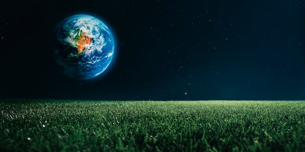 Widok ziemi z księżyca. elementy tego obrazu dostarczone przez nasa