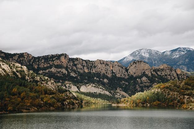 Widoki na jezioro z górami w tle z suchymi drzewami i śniegiem w szczycie