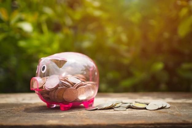 Widzii prosiątko banka z pieniądze monetami na starym drewnianym stole, save pojęcie