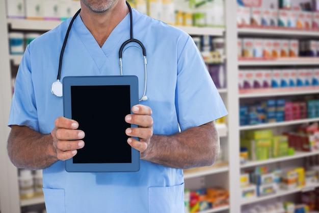 Wiedza apteka uśmiechając jednolitych farmaceutyczne