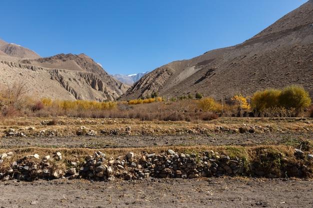 Wiejscy pola w jesieni, mustang, nepal