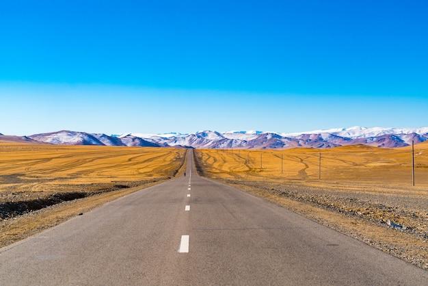 Wiejska asfaltowa droga z piękną górą i żółtym stepem w ulgii, mongolia w sezonie letnim.
