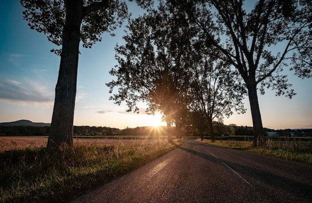 Wiejska droga o zachodzie słońca