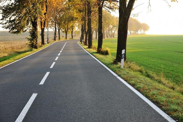 Wiejska droga, piękna scena