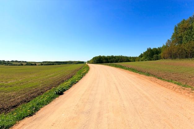 Wiejska droga polna na białorusi. wiosna