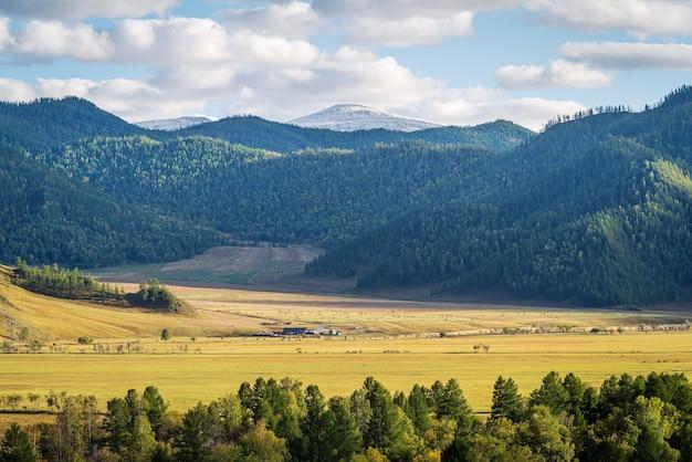 Wiejski krajobraz górski jesienią rosja góry ałtaj