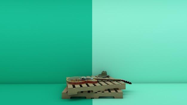Wiejski styl i gitara elektryczna na palecie z drewna w pastelowym kolorze