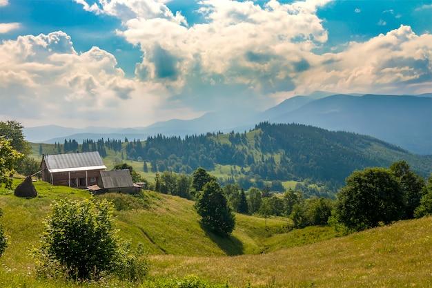 Wiejskie domy na wzgórzach z zielonymi łąkami w letni dzień