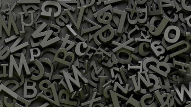Wiele 3d czarnych liter alfabetu na czarnym tle