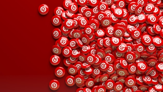Wiele czerwonych błyszczących pigułek 3d pinterest na ciemnoczerwonym tle