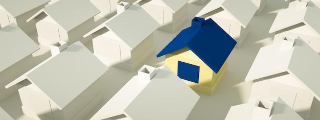 Wiele domów jest niebieskich