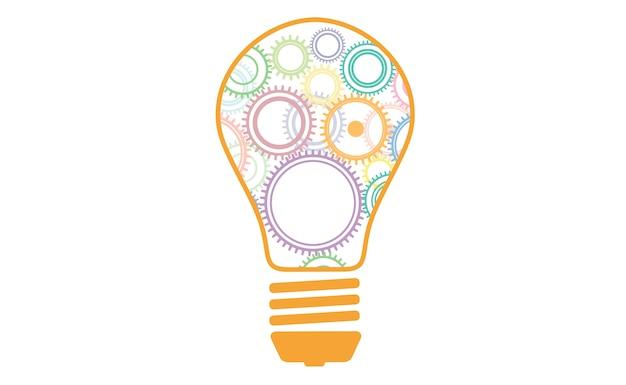 Wiele kół zębatych w różnych kolorach w koncepcji żarówki do generowania pomysłów, myślenia, wymyślania.