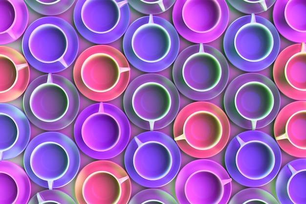 Wiele kolorowych kubków do herbaty na stole. widok z góry