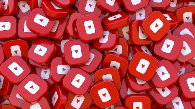 Wiele kwadratowych odznak youtube w zbliżeniu