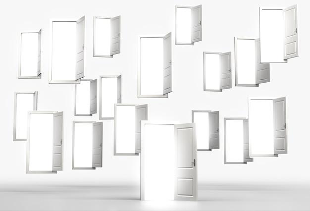 Wiele latających otwartych drzwi, przez które wpada jasne światło. pojęcie możliwości. renderowania 3d