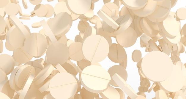Wiele lekkich pigułek podjętych jesienią zbliżenie, 3d ilustracji