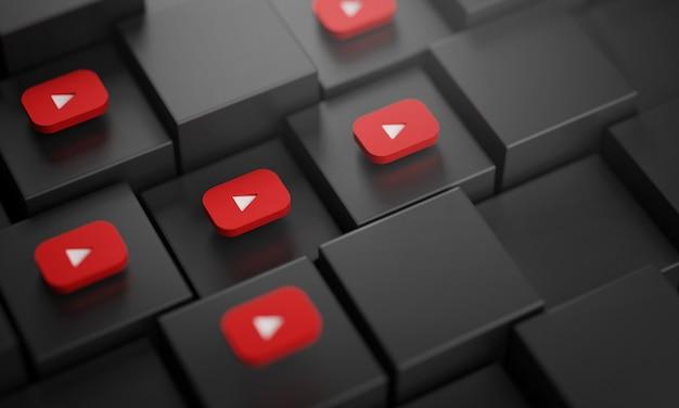Wiele logo youtube na czarnych kostkach