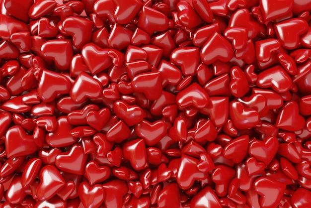 Wiele małych serc w tle. motyw walentynkowy, 3d