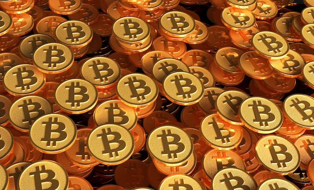 Wiele monet z wizerunkiem znaku btc. 3d ilustracji