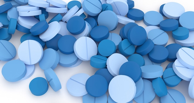 Wiele niebieskich tabletek rozrzuconych na białej podłodze z bliska, ilustracja 3d