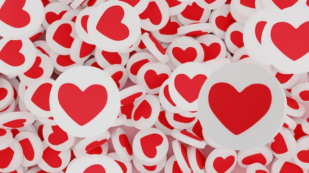Wiele obiektów podobnych do serc jako symboli sukcesu komunikacji w mediach społecznościowych. pojęcie wirtualnej popularności, jak zwiększenie czasu i polubień. renderowania 3d