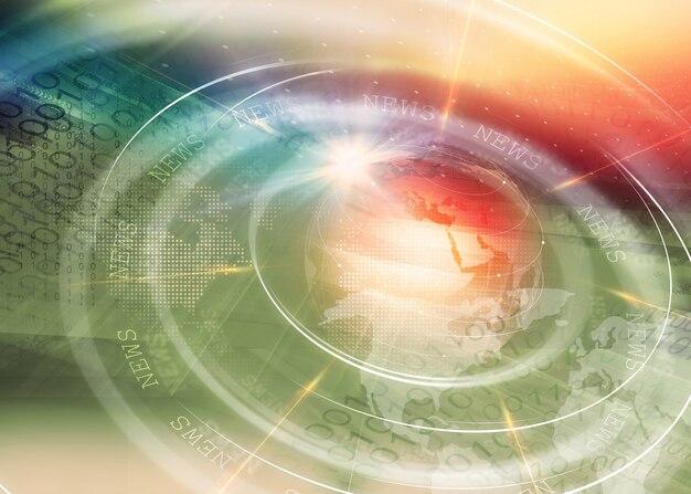 Wiele okręgów i linii poruszających się szybko po kuli ziemskiej z flarą obiektywu