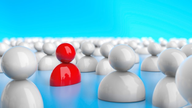 Wiele osób i jeden czerwony lider na niebieskim tle. hr. renderowania 3d.