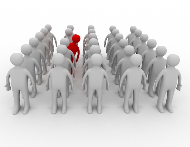 Wiele osób w rzędach, ale jedna zachowuje się inaczej