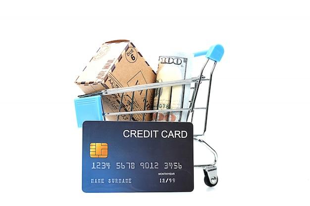 Wiele papierowych pieniędzy i karty kredytowej w koszyku