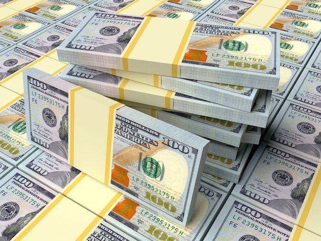 Wiele pieniędzy dolarów amerykańskich pojęcia biznesowe i finansowe