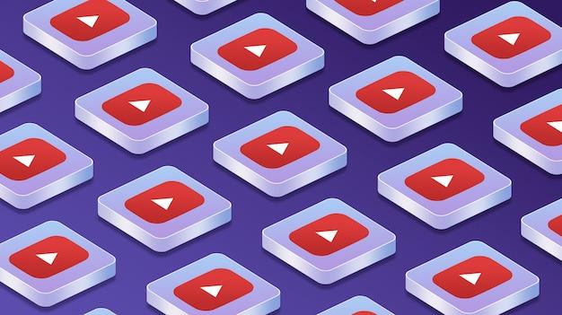 Wiele platform z ikonami logo sieci społecznościowej youtube 3d