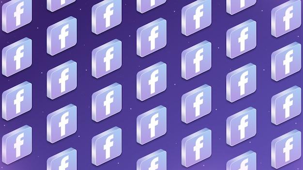 Wiele platform z ikonami logo sieci społecznościowych na facebooku 3d
