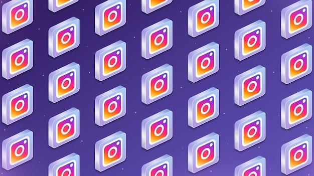Wiele platform z ikonami logo sieci społecznościowych na instagramie 3d