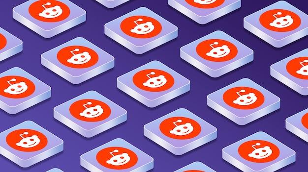 Wiele platform z ikonami logo sieci społecznościowych reddit 3d