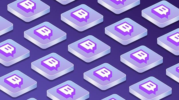 Wiele platform z ikonami logo sieci społecznościowych twitch 3d